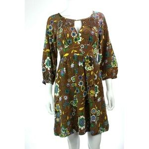 Tibi Brown silk boho retro floral dress 3/4 sleeve